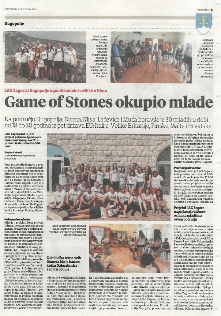 Game of Stones - objava u Vecernjem listu