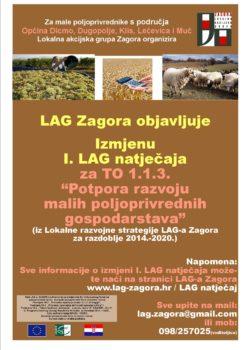 Plakat - Izmjena I LAG natjecaja - naslovnica za objavu na webu